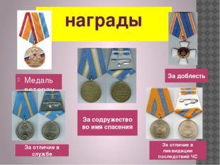 награды Медаль ветеран МЧС России За отличие в службе За содружество во имя с