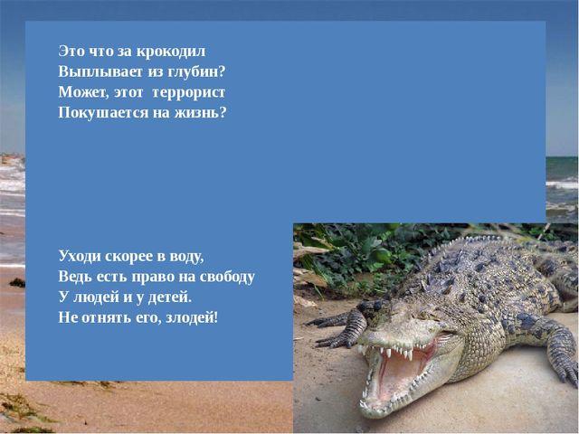 Эточто за крокодил Выплывает из глубин? Может, этот террорист Покушается на...