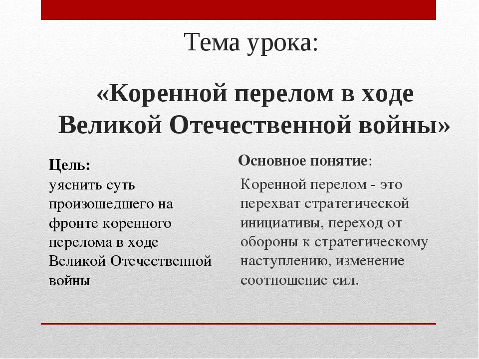Тема урока: «Коренной перелом в ходе Великой Отечественной войны» Цель: уясни...