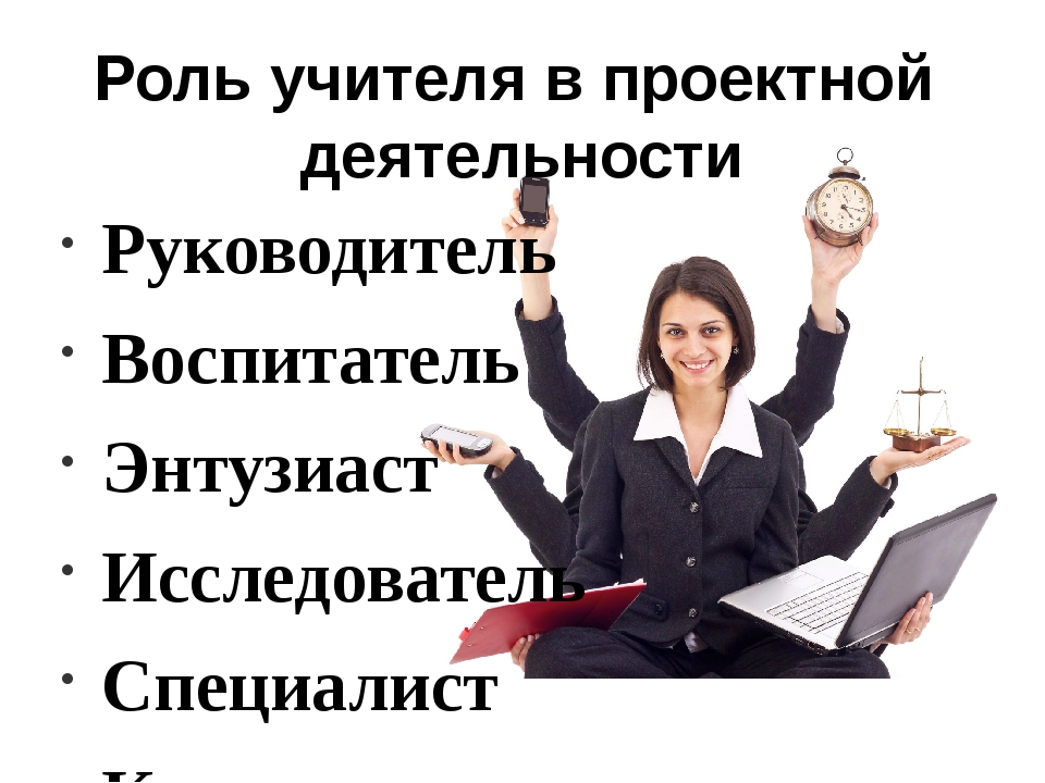 Роль учителя в проектной деятельности Руководитель Воспитатель Энтузиаст Иссл...
