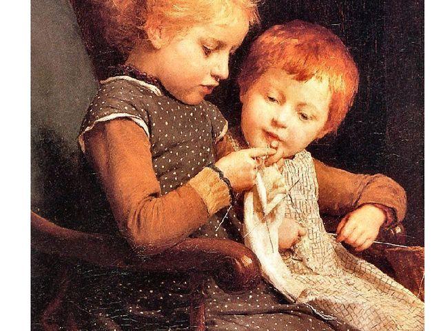 """Albert Anker """"Little knitters"""" 1885"""