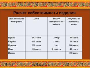 Расчет себестоимости изделия http://aida.ucoz.ru Расчет себестоимости изделия