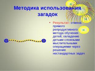 Методика использования загадок Результат: отмена прямого репродуктивного мето