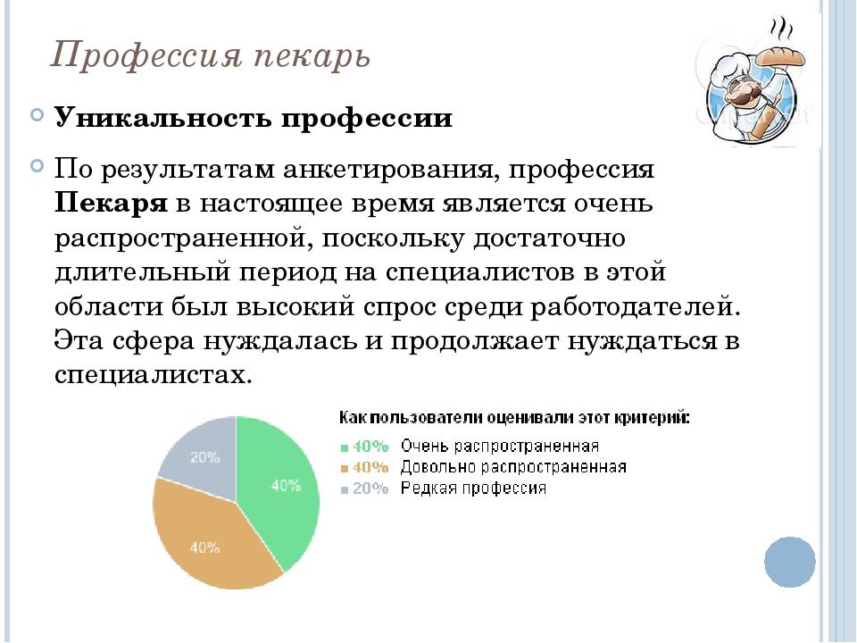 Профессия пекарь Уникальность профессии По результатам анкетирования, професс...