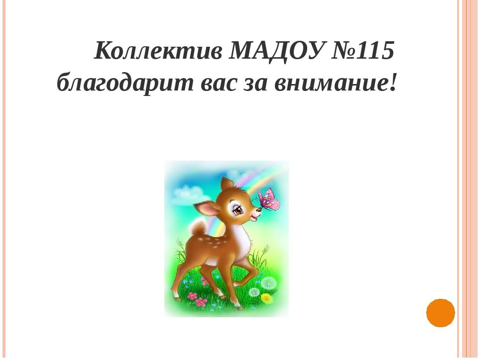 Коллектив МАДОУ №115 благодарит вас за внимание!