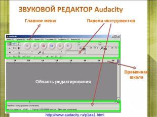 Область редактирования Временная шкала Главное меню Панели инструментов http: