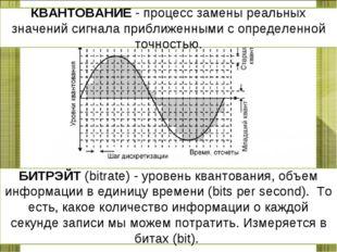 КВАНТОВАНИЕ - процесс замены реальных значений сигнала приближенными с опреде