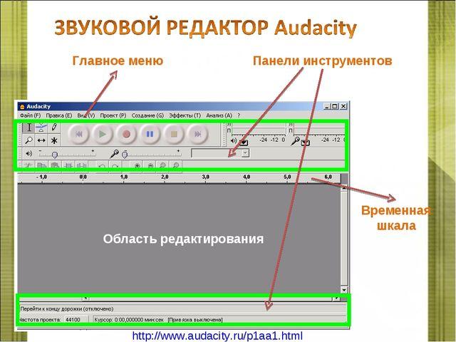 Область редактирования Временная шкала Главное меню Панели инструментов http:...