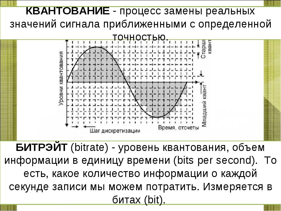 КВАНТОВАНИЕ - процесс замены реальных значений сигнала приближенными с опреде...