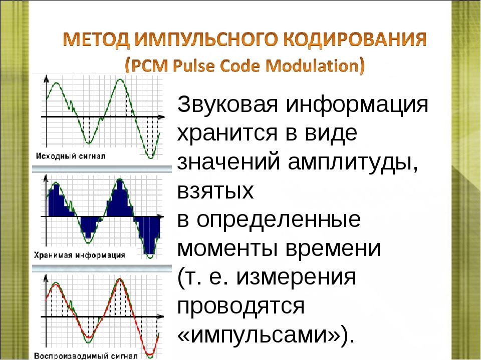 Звуковая информация хранится в виде значений амплитуды, взятых в определенные...