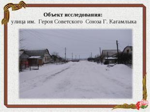 Объект исследования: улица им. Героя Советского Союза Г. Кагамлыка