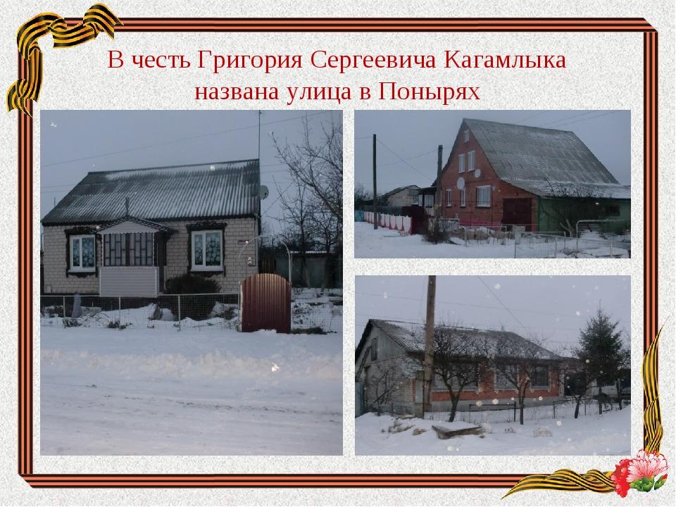 В честь Григория Сергеевича Кагамлыка названа улица в Понырях