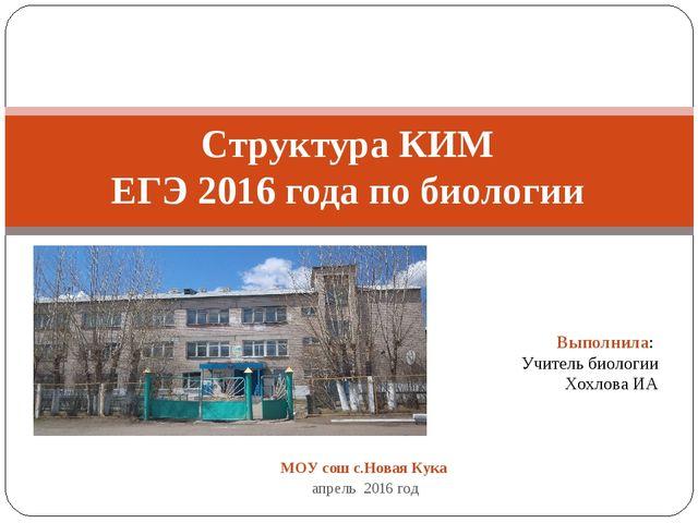 МОУ сош с.Новая Кука апрель 2016 год Структура КИМ ЕГЭ 2016 года по биологии...