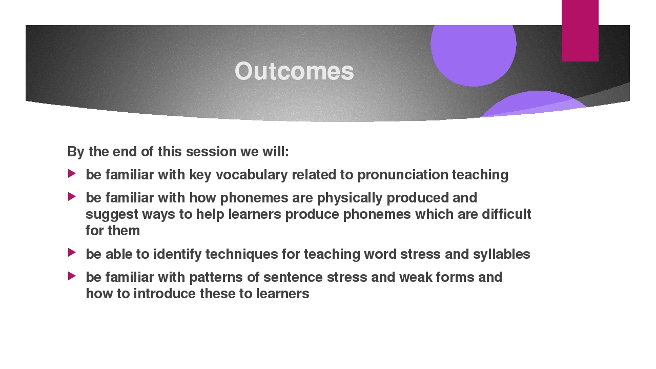 Outcomes By the end of this session we will: be familiar with key vocabulary...