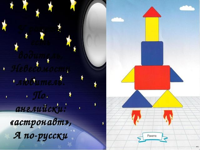 У ракеты есть водитель, Невесомости любитель. По-английски: «астронавт», А п...