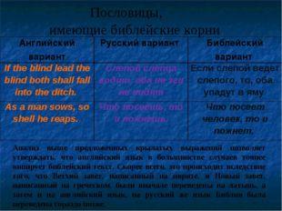 Пословицы, имеющие библейские корни Анализ выше предложенных крылатых выраже