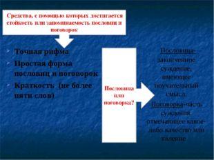 Точная рифма Простая форма пословиц и поговорок Краткость (не более пяти слов