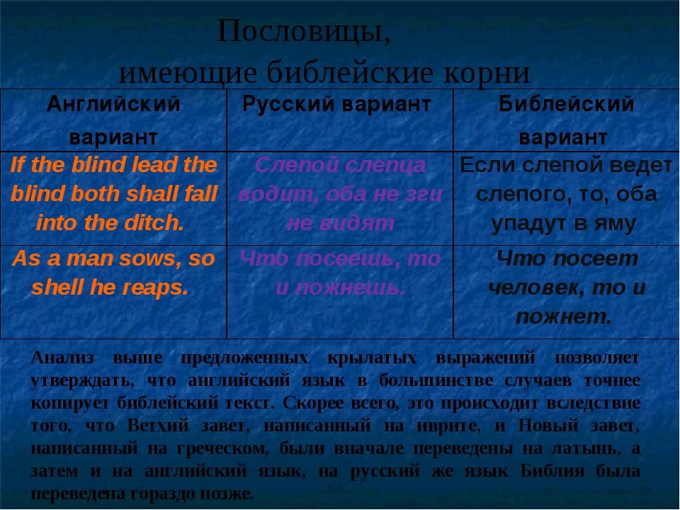 Пословицы, имеющие библейские корни Анализ выше предложенных крылатых выраже...