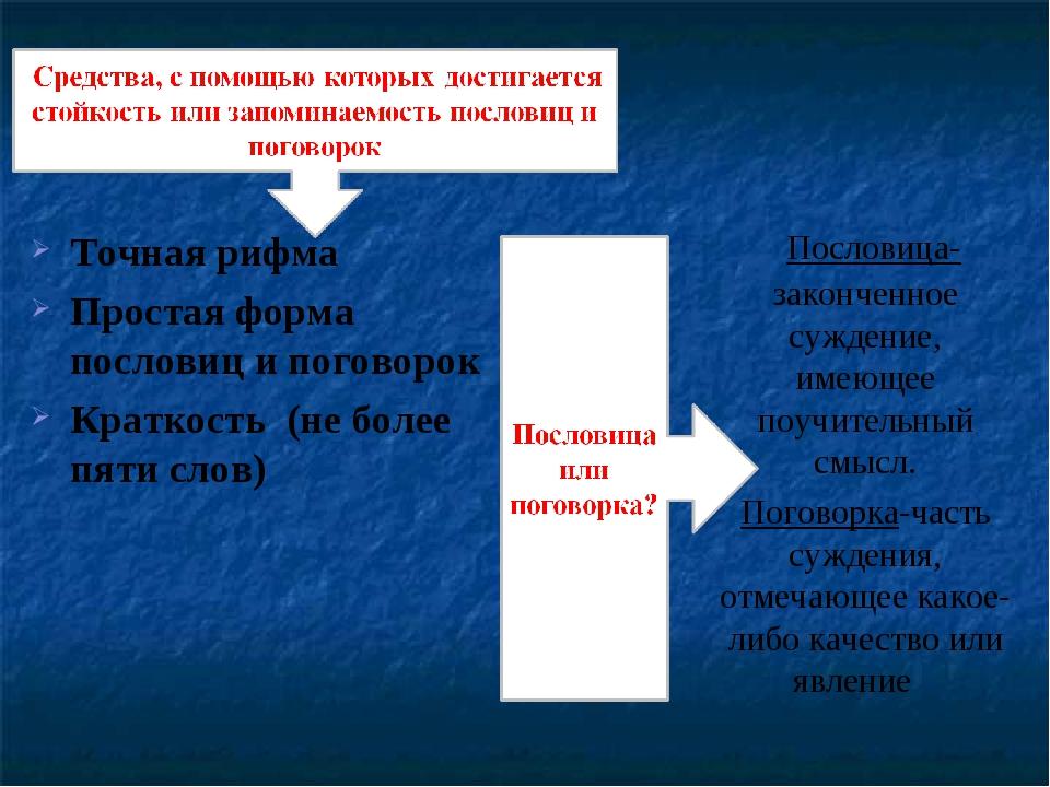Точная рифма Простая форма пословиц и поговорок Краткость (не более пяти слов...