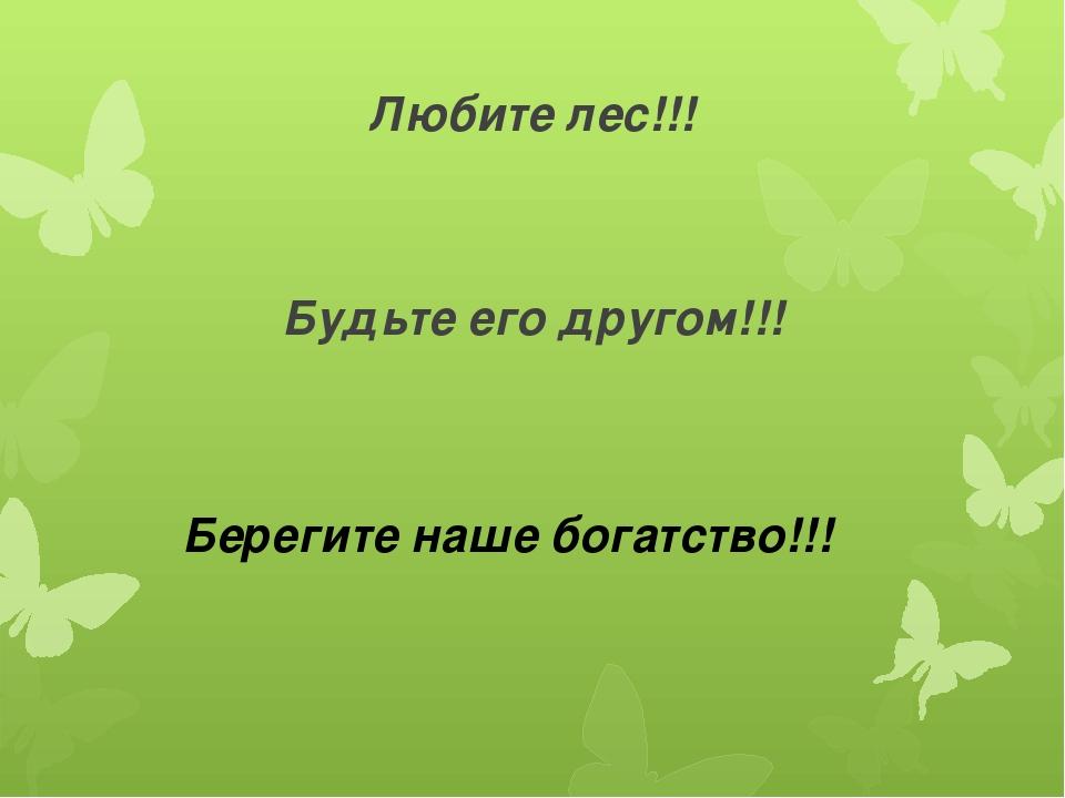 Любите лес!!! Будьте его другом!!! Берегите наше богатство!!!