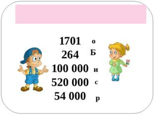 1701 264 100 000 520 000 54 000 о Б и с р