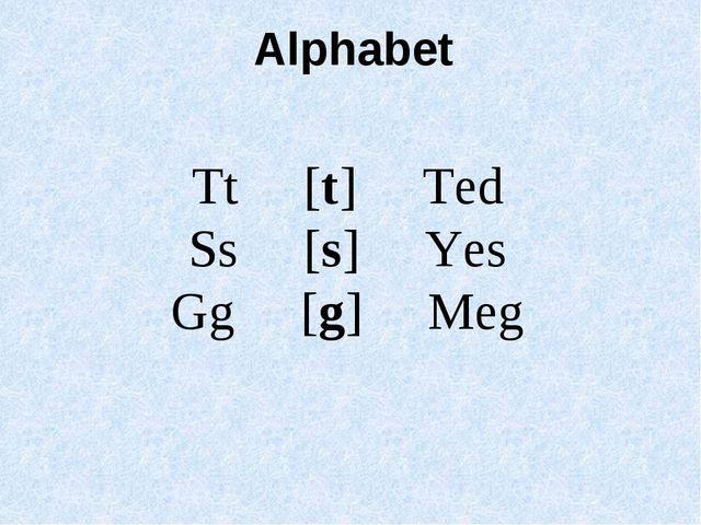 Tt [t] Ted Ss [s] Yes Gg [g] Meg Alphabet