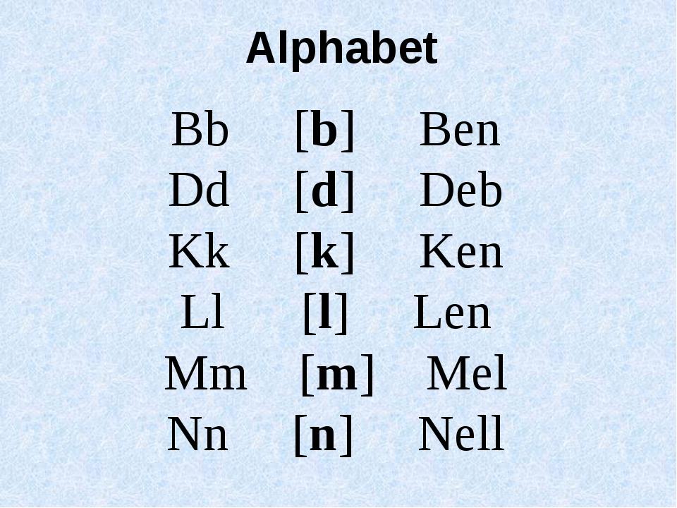 Bb [b] Ben Dd [d] Deb Kk [k] Ken Ll [l] Len Mm [m] Mel Nn [n] Nell Alphabet