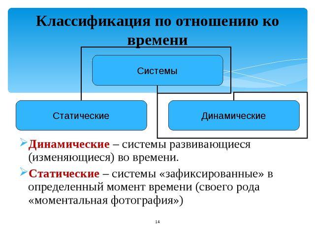 Классификация по отношению ко времени Динамические – системы развивающиеся (и...