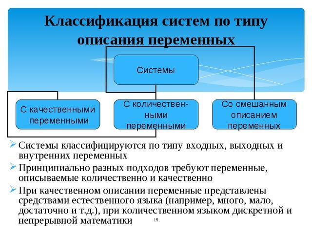 Классификация систем по типу описания переменных Системы классифицируются по...