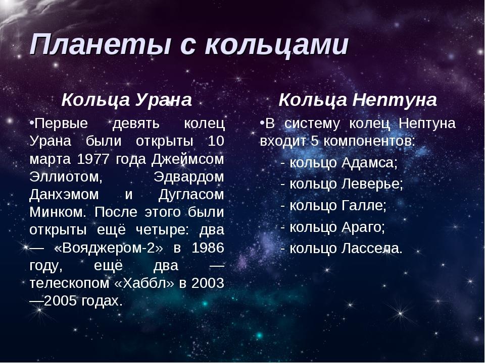Планеты с кольцами Кольца Урана Первые девять колец Урана были открыты 10 мар...