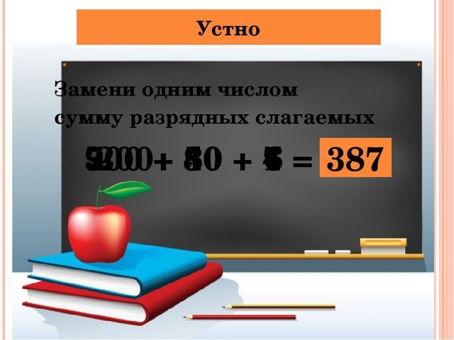 Устно Замени одним числом сумму разрядных слагаемых 200+ 30 + 6 = 236 900 + 4...