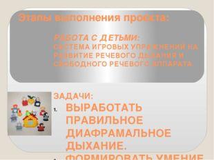 Этапы выполнения проекта: РАБОТА С ДЕТЬМИ: СИСТЕМА ИГРОВЫХ УПРАЖНЕНИЙ НА РАЗВ