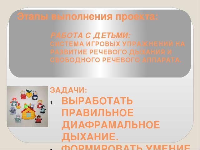 Этапы выполнения проекта: РАБОТА С ДЕТЬМИ: СИСТЕМА ИГРОВЫХ УПРАЖНЕНИЙ НА РАЗВ...