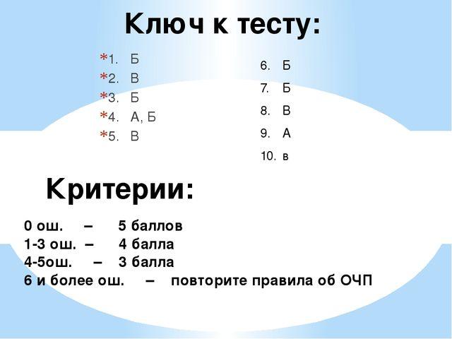 Ключ к тесту: 1.Б 2.В 3.Б 4.А, Б 5.В Критерии: 0 ош. – 5 баллов 1-3 ош....