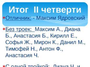 Отличник: - Максим Ядровский Без троек: Максим А., Диана Б., Анастасия Б., Ки