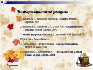 Информационные ресурсы 1. Кузьменко Н., Еремин В., Попков В., «Химия», Москва