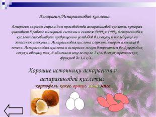 Аспарагин/Аспарагиновая кислота Аспарагин служит сырьем для производства аспа
