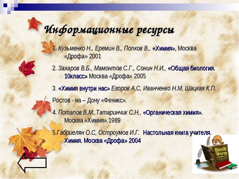 Информационные ресурсы 1. Кузьменко Н., Еремин В., Попков В., «Химия», Москва...