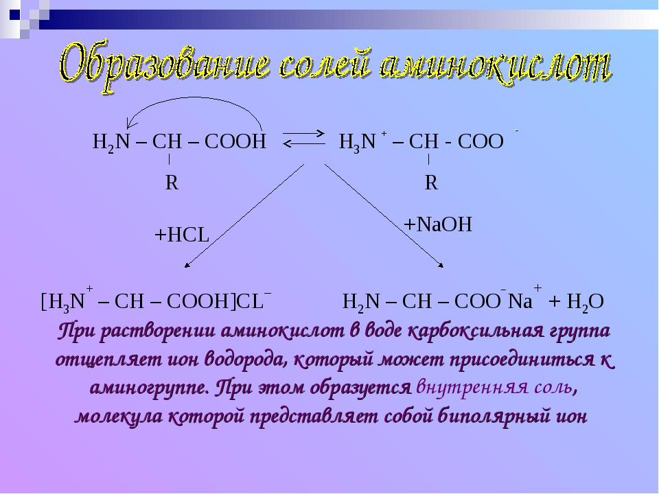 При растворении аминокислот в воде карбоксильная группа отщепляет ион водород...