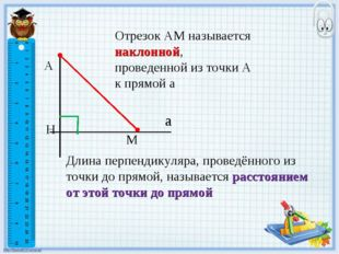 А Н М а Отрезок АМ называется наклонной, проведенной из точки А к прямой а Дл