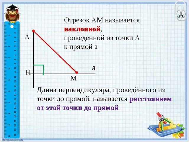 А Н М а Отрезок АМ называется наклонной, проведенной из точки А к прямой а Дл...