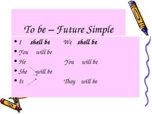 To be – Future Simple I shell be We shell be You will be He You will be She w