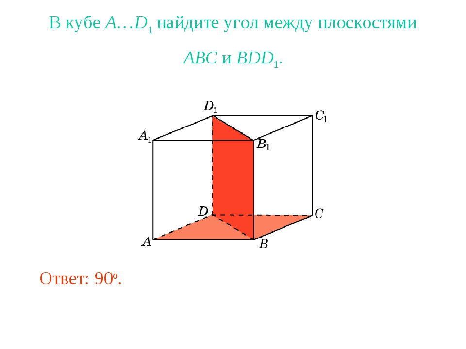 В кубе A…D1 найдите угол между плоскостями ABC и BDD1. Ответ: 90o.