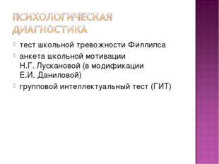 тест школьной тревожности Филлипса анкета школьной мотивации Н.Г. Лускановой