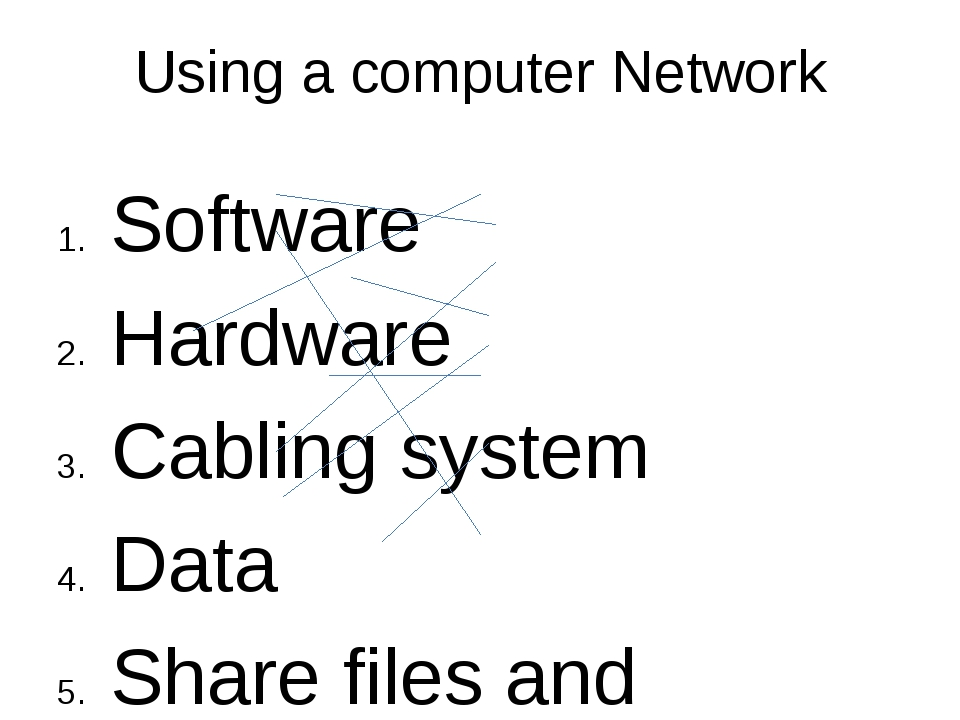 Using a computer Network Software Hardware Cabling system Data Share files an...