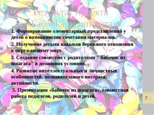 Результат проекта «Бабочка из шпагата» 1. Формирование элементарных представл