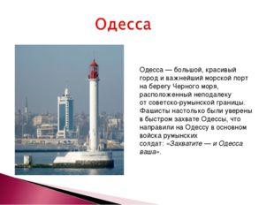 Одесса— большой, красивый город иважнейший морской порт наберегу Черного м