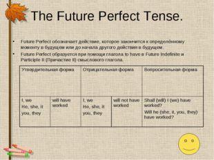The Future Perfect Tense. Future Perfect обозначает действие, которое закончи