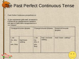 The Past Perfect Continuous Tense Pastt Perfect Continuous употребляется: 1)
