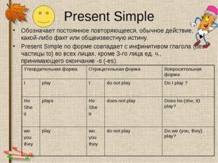 Present Simple Обозначает постоянное повторяющееся, обычное действие, какой-л